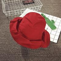 儿童渔夫帽男女宝宝帽子冬天羊毛呢大沿盆帽遮阳帽保暖个性时尚潮