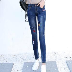 新品秋款图案牛仔裤女长裤紧身显瘦绣花小脚铅笔裤