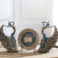 创意家居酒柜装饰品摆件陶瓷客厅简约舞女工艺品结婚礼物天鹅摆设