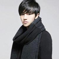 韩版简约加厚毛线围巾年轻人流苏男士英伦加长针织学生