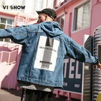 VIISHOW2018春季新款牛仔夹克男 潮牌宽松外套男士情侣帅气上衣