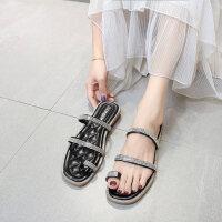 户外拖鞋女外穿女士时尚沙滩鞋百搭平底套趾凉拖
