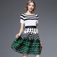 欧美女装分销优雅针织拼接一字领连衣裙修身显瘦高腰中裙6088