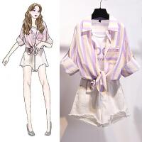安妮纯假两件防晒衬衫两件套女韩版新款仙女超仙很仙的甜美法国小众破洞牛仔短裤热裤套装