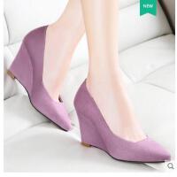 莱卡金顿新款尖头浅口坡跟高跟鞋女凉鞋休闲百搭英伦风性感女单鞋6005