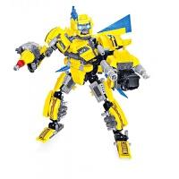 儿童积木玩具 大黄蜂机器人拼装积木玩具男孩儿童礼盒装生日礼物 黄蜂机甲