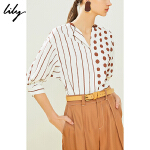 Lily春夏新款款清新撞色波点拼接条纹宽松中袖衬衫女119240C4166