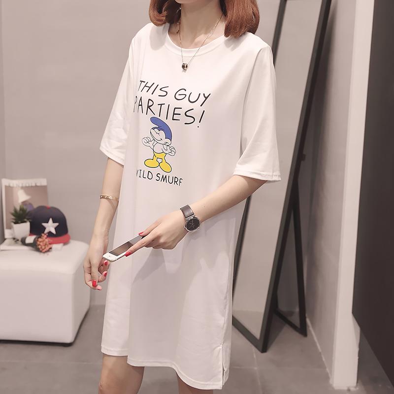 RANJU 然聚2018女装夏季新品新款上衣韩版宽松中长款t恤短袖女休闲t恤衫