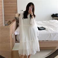 港味复古chic春装新款白色宽松雪纺中长款仙女连衣裙木耳边娃娃裙