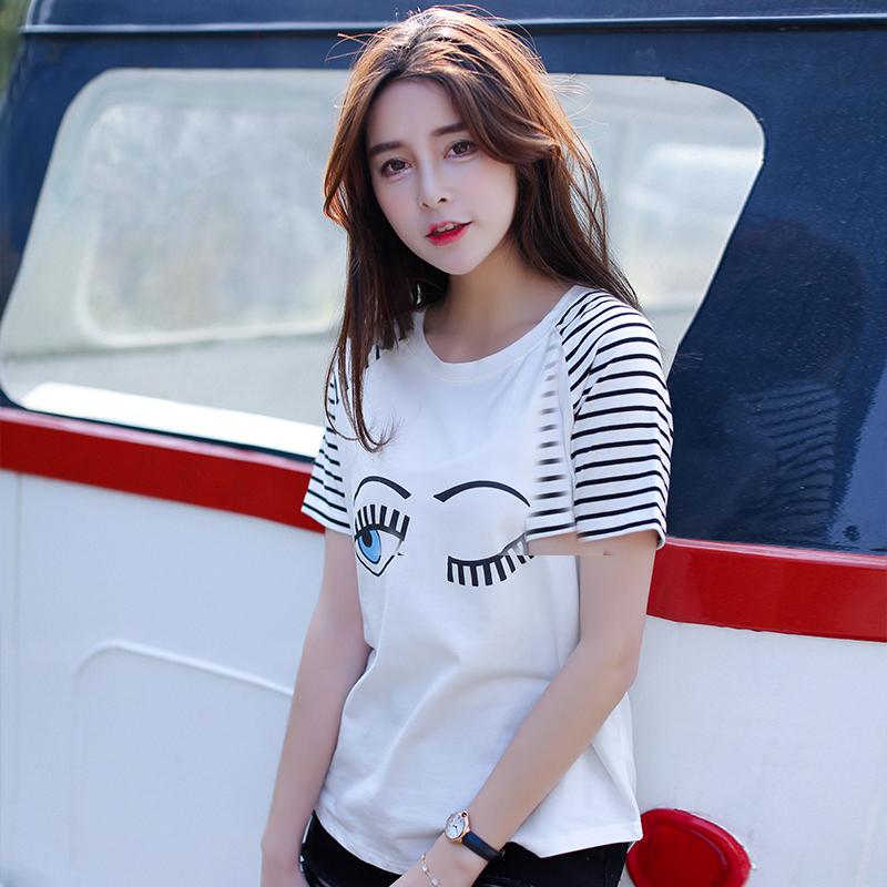 夏季新品韩版宽松百搭棉圆领短袖T恤女装印花眼睛图案小衫