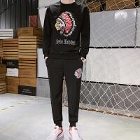 男士卫衣休闲两件套装春秋季连帽款韩版嘻哈潮运动服青少年两件套潮