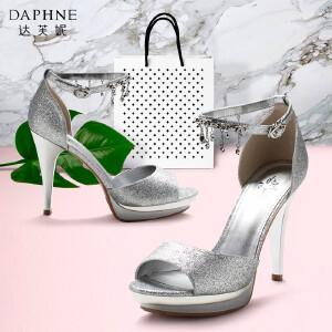 Daphne/达芙妮时尚凉鞋夏欧美亮面高跟水钻鱼嘴女凉鞋-