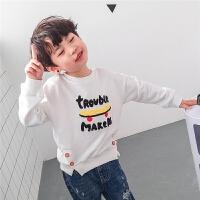 男童卫衣春秋2018新款韩版薄款儿童春装上衣白色宽松小孩男宝宝