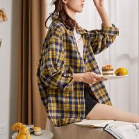 【3件8折价79.2元,仅限19-21日】唐狮2019秋季新款格子衬衫女设计感小众上衣复古港味女士衬衣外套