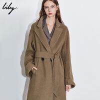 Lily2019冬新款女装洋气羊毛进口面料长款宽松系带毛呢外套女1913