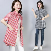 2018夏季新款棉麻格子衬衣女装短袖中长款大码宽松上衣衬衫
