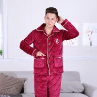 秋冬季法兰绒男士三层加厚珊瑚绒夹棉睡衣家居服长袖开衫睡衣套装