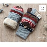 秋冬季新女士半指露指翻盖短保暖加绒加厚羊绒羊毛手套