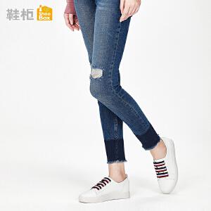达芙妮集团鞋柜18春PINKII休闲系带平底鞋彩条攀带小白