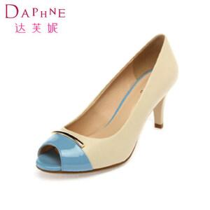 Daphne/达芙妮女鞋 撞色简约金属装饰浅口鱼嘴细高跟女单鞋1014102113