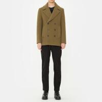 冬季新款男英伦韩版休闲毛呢外套修身短款学生羊绒大衣男