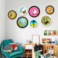 实木质圆形婚纱照相框挂墙10寸6寸8寸创意相片架画框组合像框