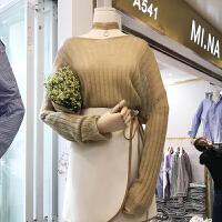 韩国ulzzang2018春装新款一字领简约时尚针织衫女长袖打底上衣潮