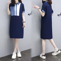 安妮纯新款时尚Polo领蓝白拼色显瘦T恤裙简约休闲中长款连衣裙