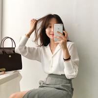 2018早秋新款韩版职业百搭西装领宽松简约垂感雪纺长袖白色衬衫女