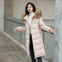 【1件3折 到手价:529元】高梵羽绒服女中长款大毛领2019新款纯色时尚修身韩版保暖冬季外套