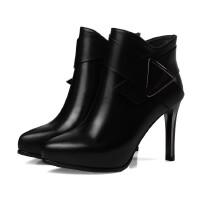 简约职场真皮短靴厂家直销高跟女鞋时尚婚鞋一件