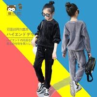 2017秋冬装新款韩版男童女童丝绒加绒卫衣儿童运动两件套装宽松潮lm 灰色 圆领 110cm