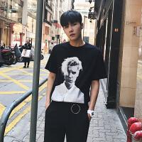 男士纯色圆领短袖T恤韩版宽松男人物印花打底衫潮男短袖体恤