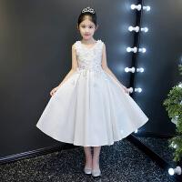 花童礼服女童公主裙秋冬新款白色缎面长款儿童主持演出蓬蓬裙