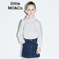 littlemoco女童上衣金色星星套头上衣荷叶边拉夫领全棉长袖上衣