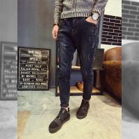 加绒加厚牛仔裤男冬季秋冬款修身型小脚弹力韩版潮流新款水洗 深蓝色