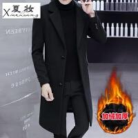 夏妆毛呢大衣男中长款韩版英伦风男士冬季外套帅气加厚长款呢子风衣潮