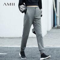 Amii[极简主义]基础运动 休闲长裤2018春季新款拼橡筋收脚精棉裤