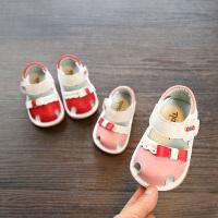 2018夏款女宝宝凉鞋 公主包头凉鞋牛皮婴幼儿叫叫鞋 女童学步鞋