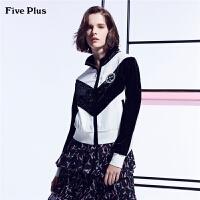 Five Plus女装卫衣女宽松拼接丝绒运动服外套长袖薄款徽章