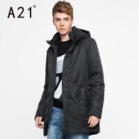 以纯A21冬装新款连帽棉衣外套男 可脱卸帽中长款黑色休闲时尚男士外套
