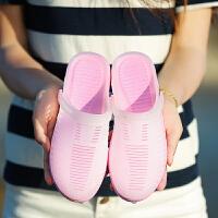 夏季沙滩鞋女厚底凉鞋海边度假韩版简约百搭平底防滑洞洞鞋女