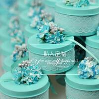 2019婚礼喜糖盒 结婚马口铁盒个性糖果盒包装盒圆形欧式伴手礼优雅蕾丝系列