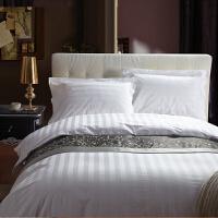 家纺床上用品 全棉贡缎提花酒店四件套 纯白色纯棉床品套件