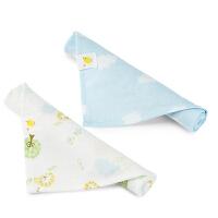 婴儿纱布三角巾宝宝口水巾围嘴手帕2条