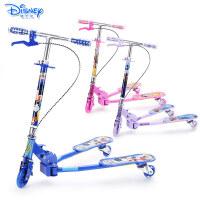 迪士尼儿童蛙式滑板车三轮闪光剪刀车踏板车小孩扭扭车摇摆车