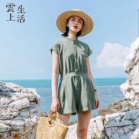 云上生活女装简约军绿色宽松休闲连体裤女直筒裤K7463
