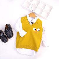 男童毛衣背心新款宝宝毛线衣卡通马甲儿童坎肩上衣