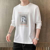 [1件2.5折�r47.3元]唐�{秋季新款�L袖T恤男��松印花打底衫青年潮流上衣白色秋衣