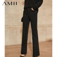 【券后预估价:104元】Amii极简黑科技火岩绒牛仔裤2020冬季新款毛边黑色宽松直筒裤子女
